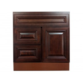 """30"""" Vanity Cabinet with Left Drawers American Cherry"""