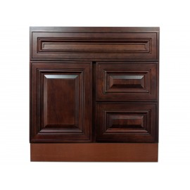 """30"""" Vanity Cabinet with Right Drawers American Cherry"""