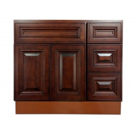 """36"""" Vanity Cabinet with Right Drawers American Cherry"""