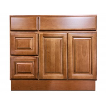 "36"" Vanity Cabinet with Left Drawers Beech Coffee"