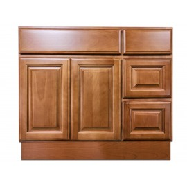 "36"" Vanity Cabinet with Right Drawers Beech Coffee"