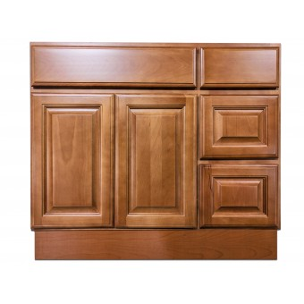 """36"""" Vanity Cabinet with Right Drawers Beech Coffee"""