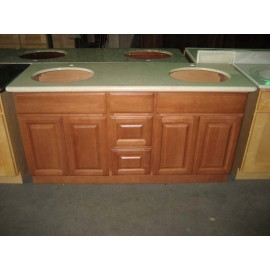 "60"" Vanity Cabinet with Drawers Center Beech Coffee"