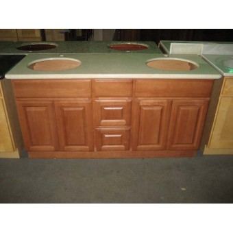 """60"""" Vanity Cabinet with Drawers Center Beech Coffee"""