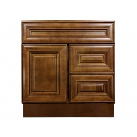 "30"" Vanity Cabinet with Right Drawers Chocolate Glaze"