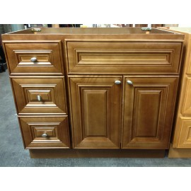 "36"" Vanity Cabinet with Left Drawers Chocolate Glaze"