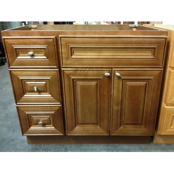 """36"""" Vanity Cabinet with Left Drawers Chocolate Glaze"""