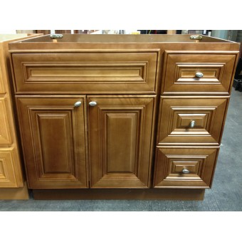 "36"" Vanity Cabinet with Right Drawers Chocolate Glaze"