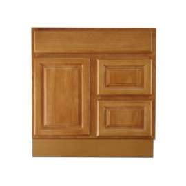 "30"" Vanity Cabinet with Right Drawers Natural Oak"