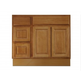 "36"" Vanity Cabinet with Left Drawers Natural Oak"
