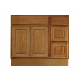 "36"" Vanity Cabinet with Right Drawers Natural Oak"