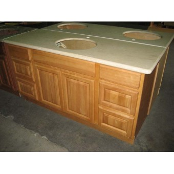 "60"" Vanity Cabinet with Drawers Natural Oak"