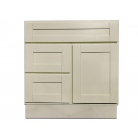 "30"" Vanity Cabinet with Left Drawers Creme White"