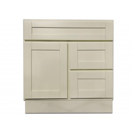 "30"" Vanity Cabinet with Right Drawers Creme White"