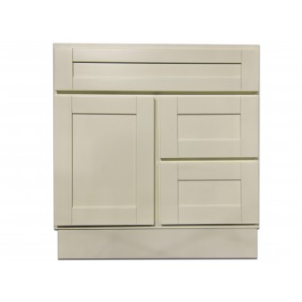 """30"""" Vanity Cabinet with Right Drawers Creme White"""