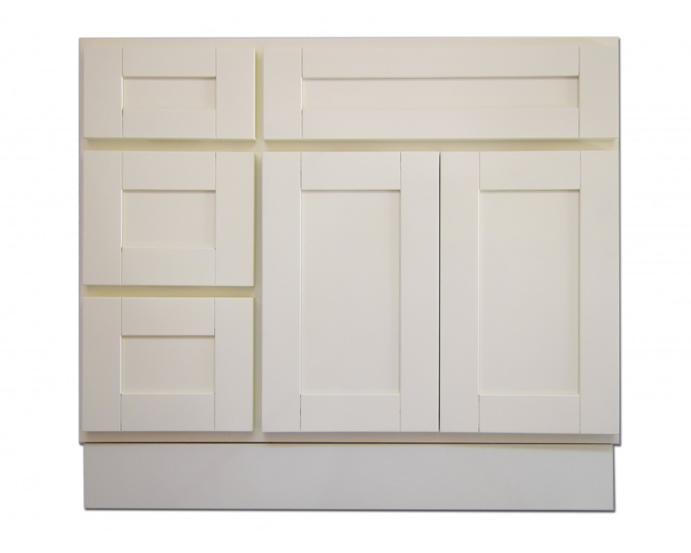 36 vanity cabinet with left drawers creme white