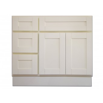 """36"""" Vanity Cabinet with Left Drawers Creme White"""