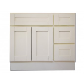 """36"""" Vanity Cabinet with Right Drawers Creme White"""