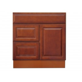 "30"" Vanity Cabinet with Left Drawers Traditional Cherry"