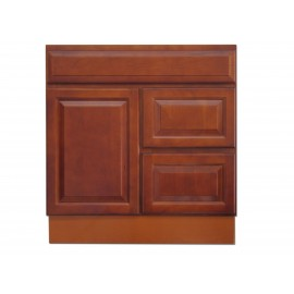 "30"" Vanity Cabinet with Right Drawers Traditional Cherry"