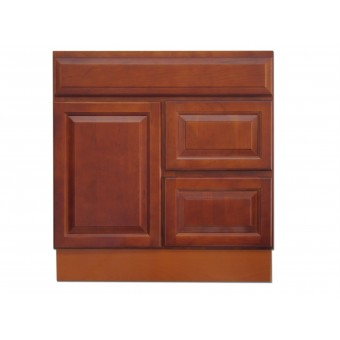 """30"""" Vanity Cabinet with Right Drawers Traditional Cherry"""