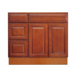 "36"" Vanity Cabinet with Left Drawers Traditional Cherry"