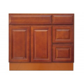 "36"" Vanity Cabinet with Right Drawers Traditional Cherry"