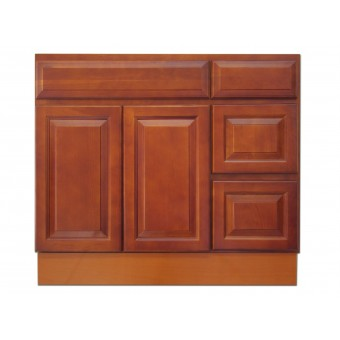 """36"""" Vanity Cabinet with Right Drawers Traditional Cherry"""