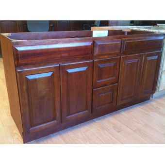 """60"""" Vanity Cabinet with Drawers Center Traditional Cherry"""