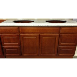 "60"" Vanity Cabinet with Drawers Traditional Cherry"