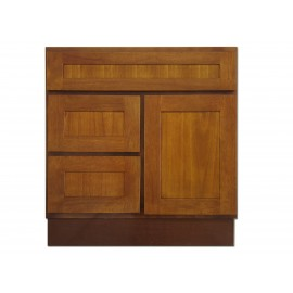 "30"" Vanity Cabinet with Left Drawers Honey Oak"