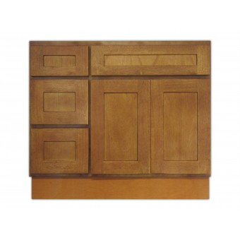 "36"" Vanity Cabinet with Left Drawers Honey Oak"