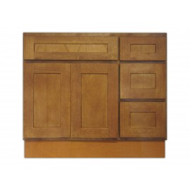 "36"" Vanity Cabinet with Right Drawers Honey Oak"