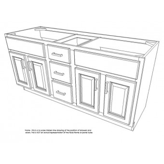 """60"""" Vanity Cabinet with Drawers Center American Cherry"""