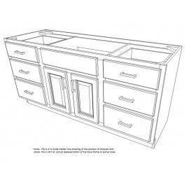 "60"" Vanity Cabinet with Drawers Super White"