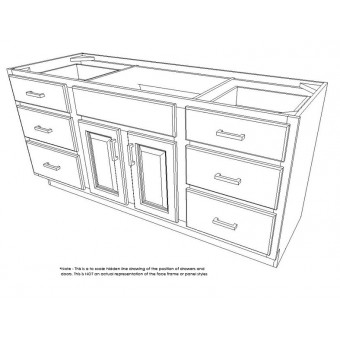 """60"""" Vanity Cabinet with Drawers Creme White"""
