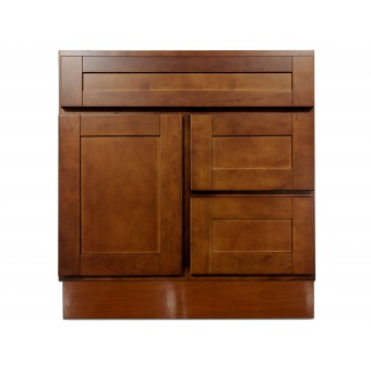 """30"""" Vanity Cabinet with Right Drawers Elegant Cherry"""