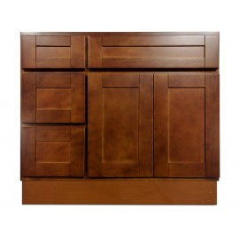 "36"" Vanity Cabinet with Left Drawers Elegant Cherry"