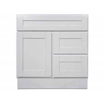 "30"" Vanity Cabinet with Right Drawers Super White"