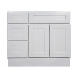 "36"" Vanity Cabinet with Left Drawers Super White"
