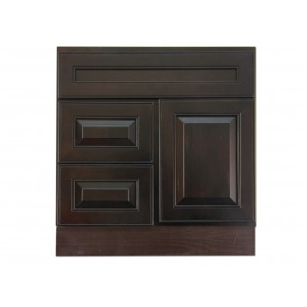 "30"" Vanity Cabinet with Left Drawers Expresso Traditional"
