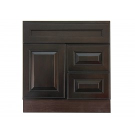 "30"" Vanity Cabinet with Right Drawers Expresso Traditional"