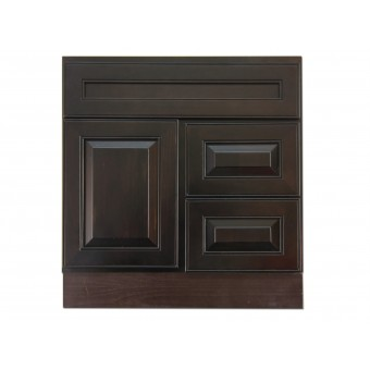 """30"""" Vanity Cabinet with Right Drawers Expresso Traditional"""