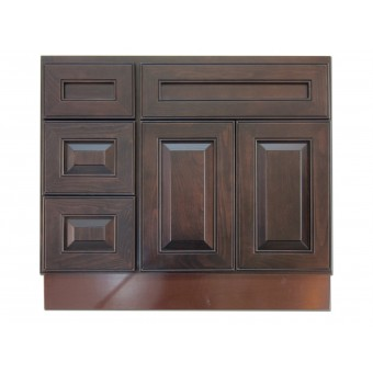 """36"""" Vanity Cabinet with Left Drawers Expresso Traditional"""