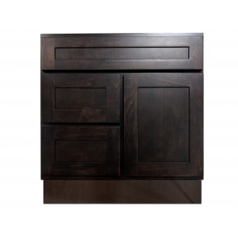 """30"""" Vanity Cabinet with Left Drawers Expresso Birch"""