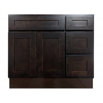 """36"""" Vanity Cabinet with Right Drawers Expresso Birch"""