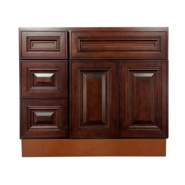 "36"" Vanity Cabinet with Left Drawers American Cherry"