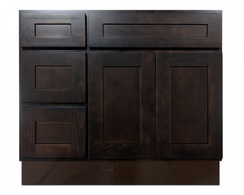 """36"""" Vanity Cabinet with Left Drawers Expresso Birch"""
